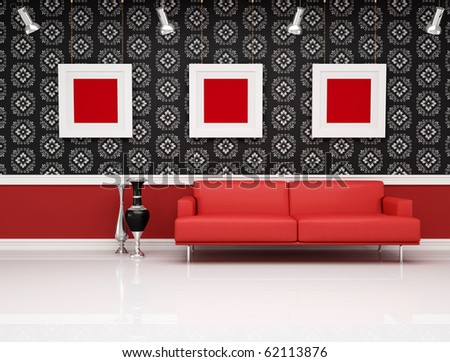 red leather couch against black and white classic wallpaper