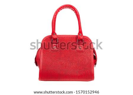 Red leather elegant women bag. Fashionable female handbag, isolated ストックフォト ©