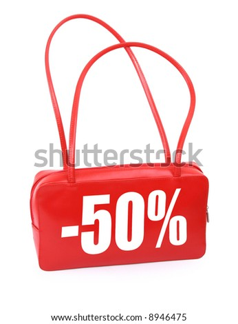 red leather handbag with red sale sign on white background, minimal natural shadow in front, the photo does not infringe any copyright
