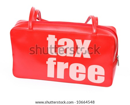 red leather handbag with tax free sign on white background, photo does not infringe any copyright