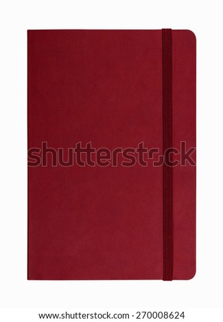 red leather notebook isolated on white background #270008624