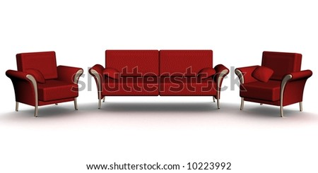 Red leather sofa and two armchairs. An interior. 3D image. - stock photo