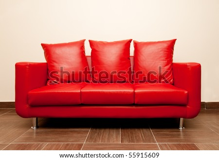 Red leather sofa with pillow. Red Divan