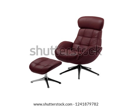 red leather swivel chair and foot rest  #1241879782