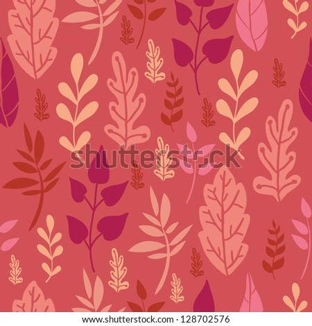 Red Leaves Seamless Pattern Background Raster
