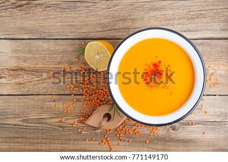 Red lentil soup.top view. #771149170