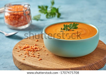 Red lentil soup   . Traditional middle eastern  food