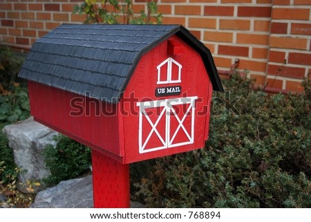 Red letter box with US mail on the front