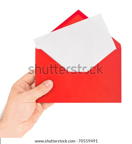 Red letter in hand isolated on white background