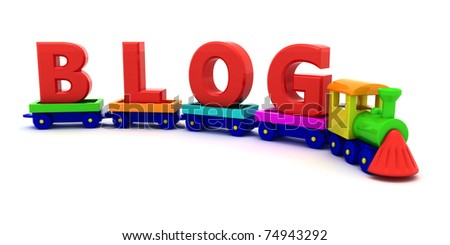 Red letters Blog on the toy train - stock photo