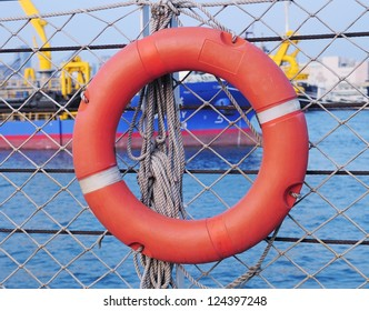 Stock Photo: Red life buoy
