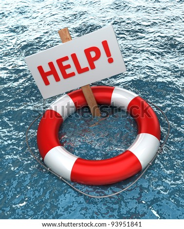 Red life buoy with a sign HELP in the water High resolution
