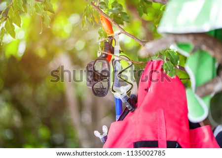red life jacket and a mask for snorkeling hang on the tree.selective focus. #1135002785