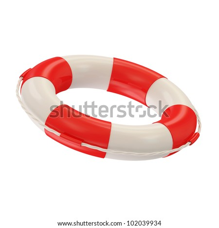 Red Lifebelt isolated on white background