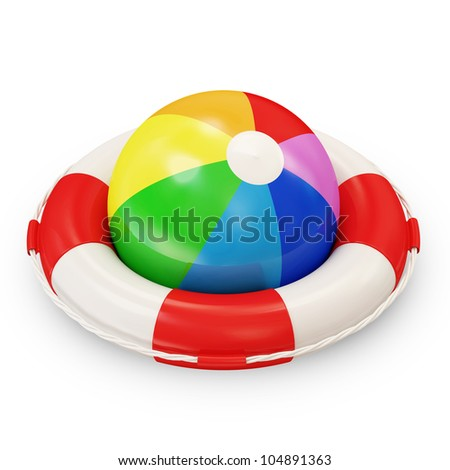 Red Lifebelt with Colorful Beach Ball on white background