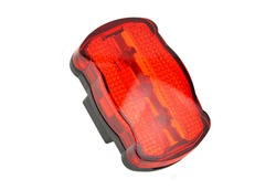 Red light bike reflector, isolated on white background