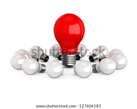 Red light bulb lamp among white lamps, isolated on white background.