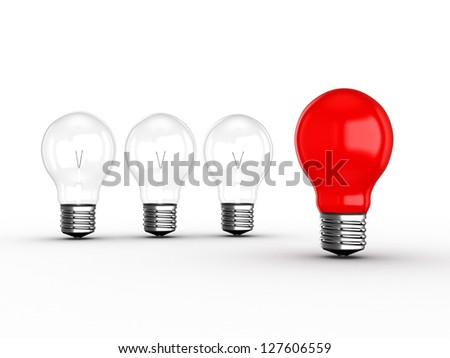 Red light bulb lamp leadership concept among transparent lamps, isolated on white background.