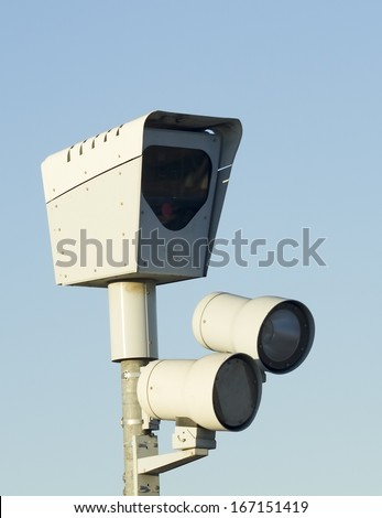 Red light camera closeup