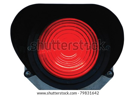 Red light railway traffic dwarf signal set at stop / danger, isolated, railroad ground mounting lamp
