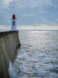 Red lighthouse in La Chaume, Les sables-d'olonne, France