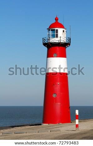 Red lighthouse in Zeeland, Netherlands #72793483