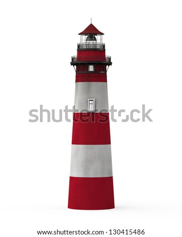 Red Lighthouse Isolated on White Background