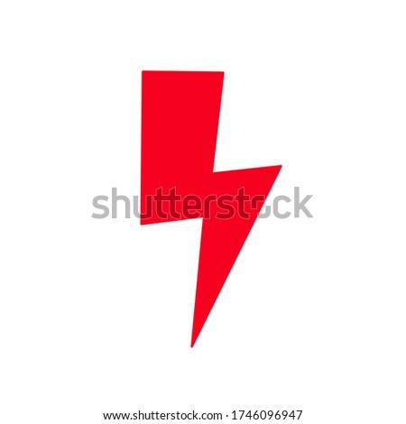 red lightning on a white background. traffic symbol Strajk Kobiet Zdjęcia stock ©