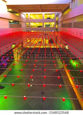red lights in parking garage  #1568523568