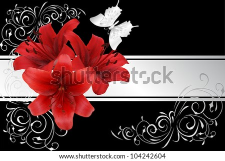 red lily and silver butterfly on black background