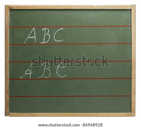 """red lined old blackboard with written """"ABC"""" on it. Studio shot in white back"""