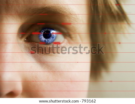 Red lines scanning the face and retina of a woman.