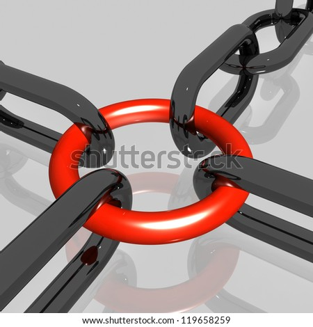 Red Link Grey Background Showing Strength Security Safety and Togetherness