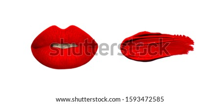 Red lips and lipstick swatches. Lipstick swatches, demonstration, preview. Lips background. Beauty texture. Beauty store banner. Makeup swatches, samples, smudges, smears.