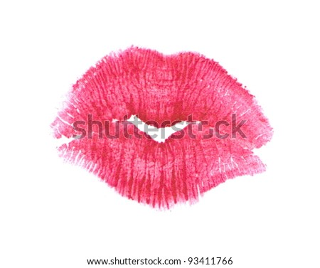 Red lips imprint isolated on white background. Image high-resolution