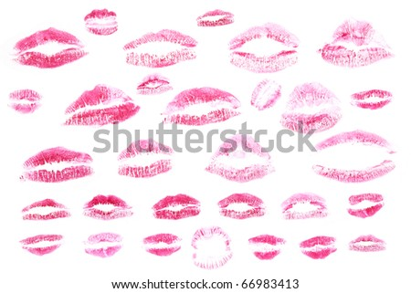 Red lips stamps isolated on white background