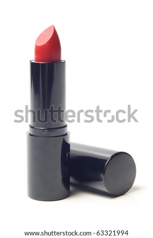 Red lipstick in black case isolated
