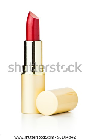 red lipstick isolated with clipping path on white background