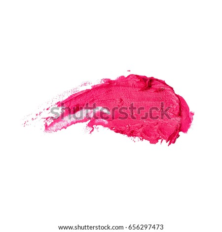 Red Lipstick Smear Isolated on White Background. Foundation Lipstick Smudge. Lipstick Paint. Cosmetic Liquid Foundation Strokes. Makeup Smear. Grooming Products #656297473