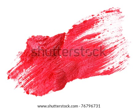 Red lipstick stroke (sample), isolated on white