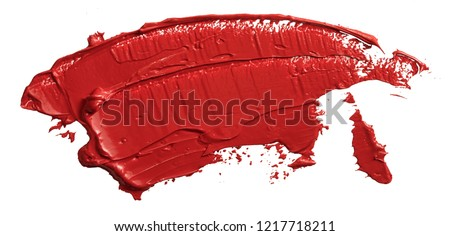 Red lipstick swatch. Textured hand drawn red oil paint brush stroke painting, convex with shadows, isolated on white background Photo stock ©