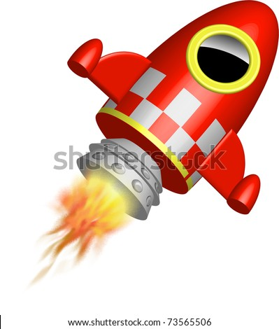 Red little rocket ship with flames illustration