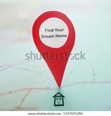 Red locator symbol on a map                             #1337691284