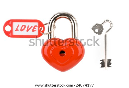 Red lock and key isolated on a white background