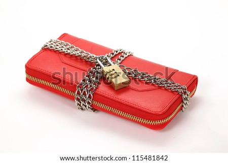 red locked wallet on the white background