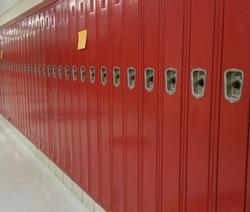 red lockers hallway