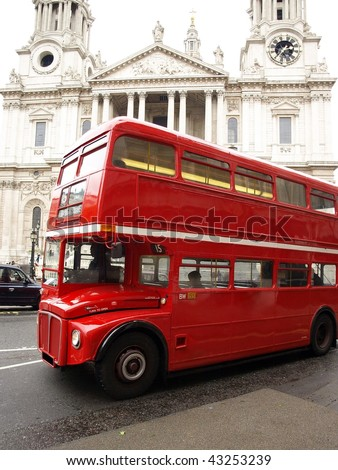 Red London Bus with St Paul's Cathedral in the Background