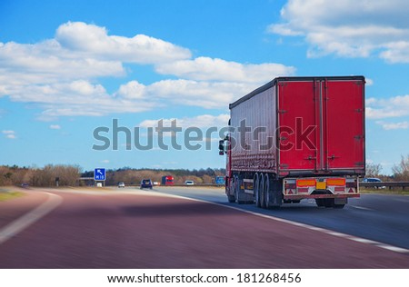 Red lorry on motorway #181268456