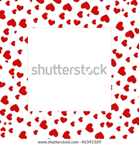 stock photo : red love heart border isolated on white background