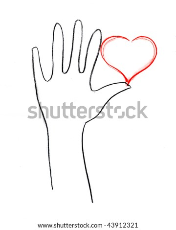 stock photo Red Love heart in hand contour drawing